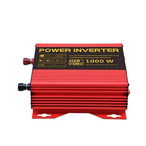Solar Wechselrichter Power Inverter DC 12V auf 220V AC Solar PV Auto Konverter mit Zigarettenanzünder Adapter 1000W (rot) (Starter-pumpe Jump)