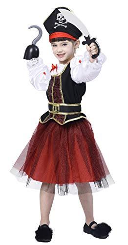 IKALI Pirat Kostüm für Mädchen, Deluxe Buccaneer Kostüm Outfit (4er Set) Tier Outfit Halloween Prinzessin Rollenspiel (4-6Y) (Piraten Prinzessin Kostüm Kleinkind)