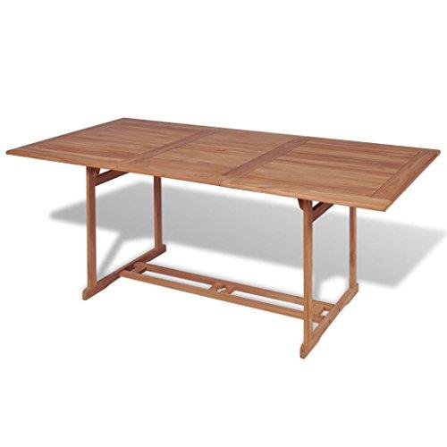 vidaXL Teck Table à Manger Rectangulaire d'Extérieur Jardin 180x90x75cm Meuble