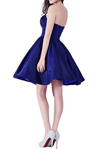 Victory Bridal Attraktive Satin Abendkleider Promkleider Partykleider Kurz  Cocktailkleider mit Schwarz Spitze Neu Royal Blau