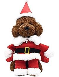 Gusspower Disfraz de Mascota de Navidad Traje de Perro con Gorro de Santa Claus Escudo de Capucha para Perros pequeños Gatos Divertido Perrito de Fiesta de Navidad Ropa