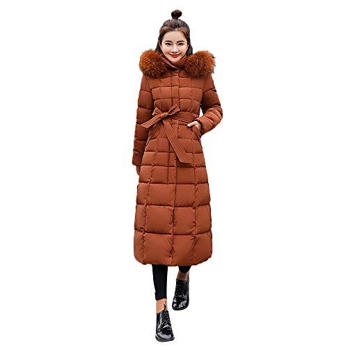 VRTUR Damen Warme Winterjacke Oberbekleidung Pelz Mit Kapuze Mantel Lange Baumwolle Gepolstert Jacken Asche Daunenjacke Winterparka(XXXL,Khaki)