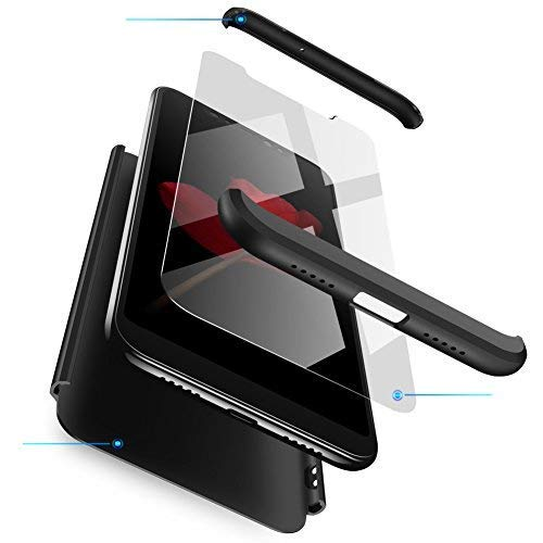 INOJF Coque Compatible Samsung Galaxy Note 8 Ultra Slim 3 en 1 Étui Protecteur Antichoc PC Housse de Protection Étui Housse +[2X Verre trempé ] écran Protecteur 360° Full-Cover Case-Noir