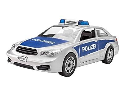 Revell Junior Kit Polizei Auto Modellbausatz für Kinder zum Schrauben, robust zum Basteln und Spielen, ab 4 Jahren, kindgerecht, müheloses Verbinden weniger Teile, mit Aufklebern - POLICE CAR 00802 von Revell