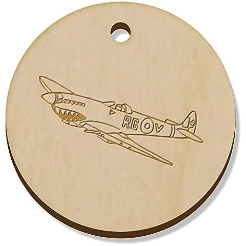 11 x 34mm 'Avion Spitfire' pendentif en bois (PN00040284)