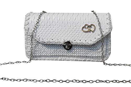 Kleine Krokodilleder Tasche auf Kette Weiße Umhängetasche mit Muster Bestickte Brieftasche Handytasche Große Geldbörse Geldbeutel Reptil Leder für Kind und Mädchen -