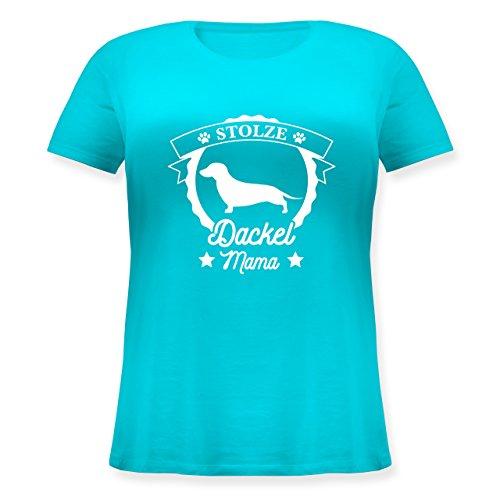 Shirtracer Hunde - Stolze Dackel Mama - Lockeres Damen-Shirt in Großen Größen mit Rundhalsausschnitt Türkis