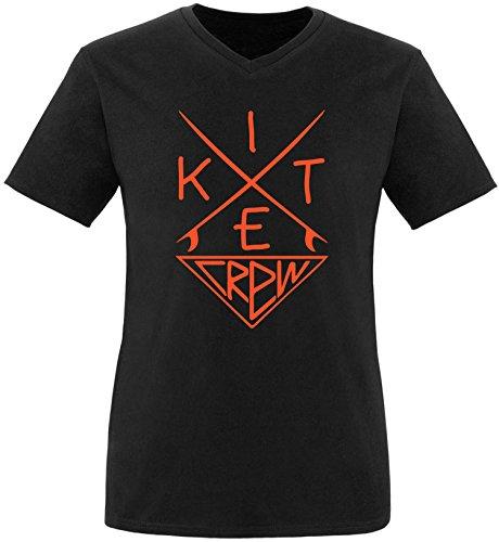 EZYshirt® Kitesurf Crew Herren V-Neck T-Shirt Schwarz/Orange