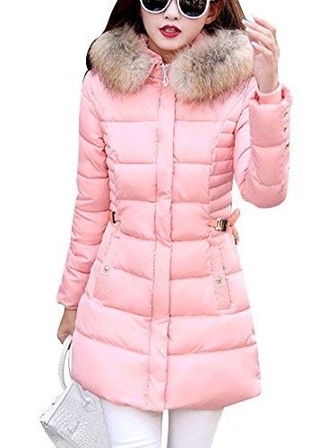 LaoZan Donna Inverno Spessore Caldo Cappotto Giacca Trapuntata Con Pelliccia Ecologica Cappuccio Pink XL