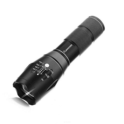 Yurroad Super Bright LED rechargeable lampe torche tactique CREE XML T6Mise au Point Réglable lampe de poche, résistant à l'eau Camping Randonnée Vélo lampe de poche