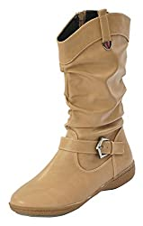 Shuberry Womens Latest Collection, Comfortable & Fashionable Beige Slouch Boots - 36 EU