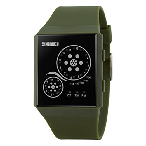 Kreative männliche Uhr/wasserdichte Gelee-Farbenuhren/personifizierte LED/ultra-dünne Uhr, army green (Männlich-gel)