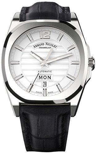Armand Nicolet–Reloj automático unisex con plata esfera analógica pantalla y correa de cuero negro a650aaa-ag-pi4650na