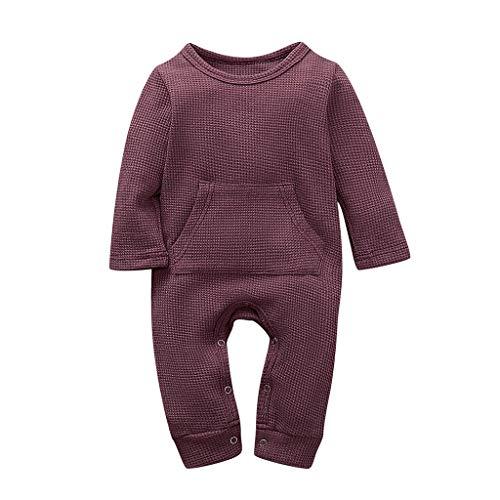 Livoral Baby Wintermantel Overall Langärmeliger Warmer Overallanzug des neugeborenen Babybabys des Mädchens Normallack(Rot,6-12 Monate)
