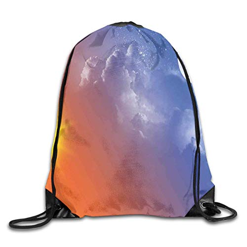 HRTSHRTE Drawstring Backpack Gym Bags Storage Backpack, Full Moon Sun Clouds Cycle of The Galaxy Sacred Movement Macrocosm Print,Deluxe Bundle Backpack Outdoor Sports Portable Daypack