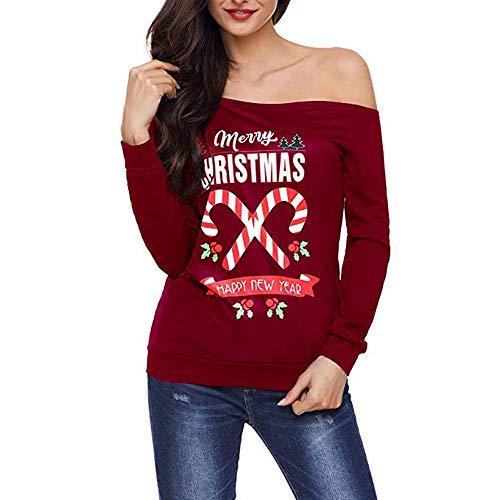 rauen T-Shirt Weihnachten Langarm Mutterschaft Lose Tees Tops Casual Pullover Bluse ()