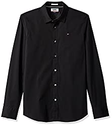 Tommy Hilfiger Tommy Jeans by Mens Button Down Shirt Original Stretch, Tommy Black, Small