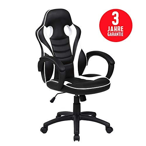 Inova Design Gaming Stuhl Bequemster Gaming Sessel PC Stuhl Ergonomisch verstellbar Gaming Chair mit Wippfunktion Bürostuhl Schreibtischstuhl Gaming Drehstuhl Zocker Stuhl WEIß Galli