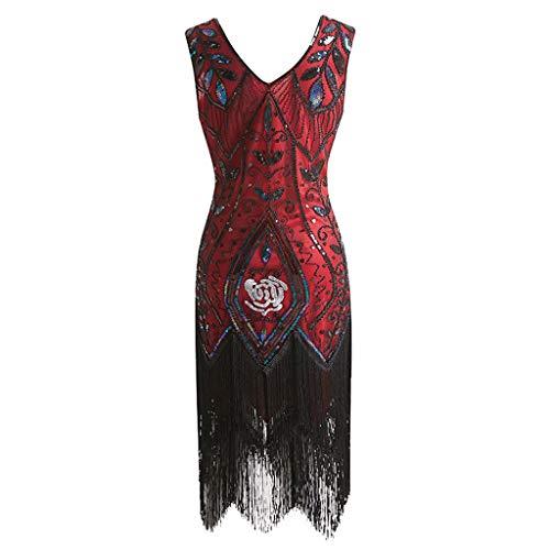 KUDICO Kleid Retro Damen Stil Flapper Kleider Voller Pailletten V-Ausschnitt Great Gatsby Motto Party Dress Kostüm Kleid Abendkleider(rot, (Pailletten Smoking Kleid Damen Kostüm)