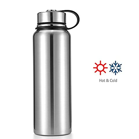 Makewe - 22 or 32 OZ Thermos Double-walled Vacuum Insulated Stainless Steel Sports Water Bottle Travel Mug (Silver, 32oz)