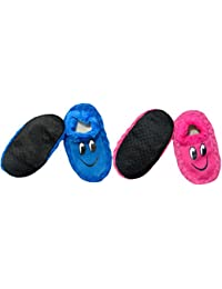 Neska Moda Premium Pack Of 2 Pairs Soft Cotton Kids Blue And Pink Booties Cum Indoor Slippers For 2 To 4 Years