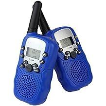 Vine 2x T-388 Niños Walkie-talkie UHF 446MHz 8 Canales 0.5W con pantalla LCD y Linterna Incorporado Radio de Juguete Portátil y Aficionado