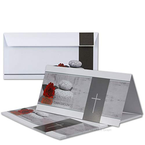 50x Danksagungskarten Trauer mit Umschlag DIN LANG - Mit Text DANKSAGUNG - Motiv Rose Stein Trauerkreuz - Trauerkarten Set - würdevolle Dankeskarte