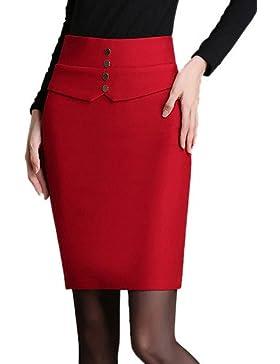Mujer Tallas Grandes Faldas Un ColorAdorable Sobre la Rodilla Algodón / Poliéster / Nailon Micro-elástica Otoño...