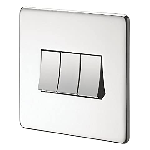 Crabtree 10AX Switch Polished Chrome Flat Plate 3-Gang