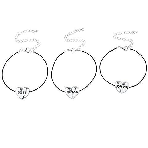 Lux Accessoires Noir Silvertone Best Friends Forever Fleur Cœur Bracelet