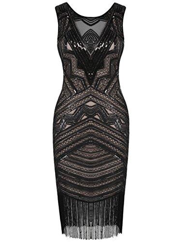 r Jahre Great Gatsby Kleid Pailletten Cocktail Flapper Kleid M/EU 38-40 Schwarz Beige (1920-stil Kleider)
