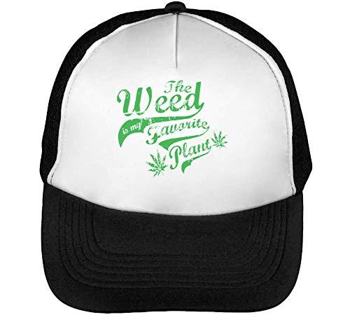 Preisvergleich Produktbild Weed Favorite Plant Trucker Cap Herren Damen Schwarz weiß Snapback