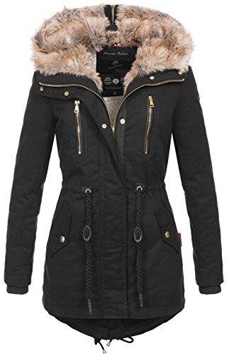 Navahoo Warme Damen Winter Jacke Lang Teddyfell Winterjacke Parka Mantel B648 2