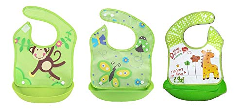 Gilli Shopee Waterproof Silicone Roll up Washable Crumb Catcher Baby Feeding Eating Bibs with Food Catching Pocket (Any 1 Piece) (Green)