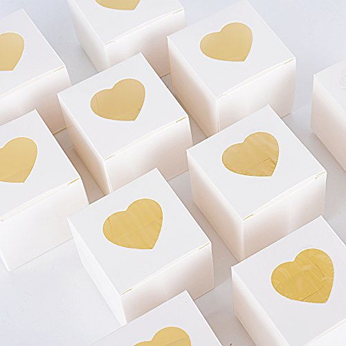 100pcs(5 * 5 * 5cm) Cajas Papel Regalos Caramelos Dulces Bombones Recuerdos Invitados Boda Fiesta Bautizo Comunion Graduación 5 * 5 * 5cm (Blanco con corazón)