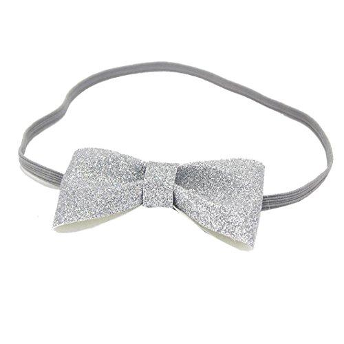 Fulltime(TM) 1PC Colorful Fashion Girls bébé bowknot élastique souple bowknot Bandeau Cheveux Accessoires (Argent)