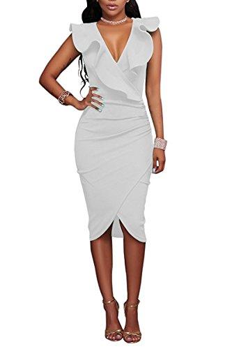 Minetom Damen Sommerkleider Partykleid Stretch Bodycon Rüsche V-Ausschnitt Irregulär Midi Kleid Weiß DE 36 (Halfter Bikini Stretch-rüschen)