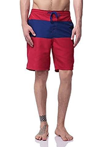 Pau1Hami1ton BS-01 Swim trunks men (Red&Blue,S)
