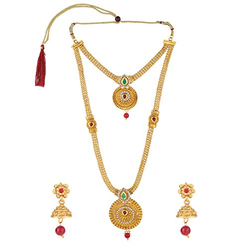 Efulgenz Indian Bollywood Traditional White Red Green Rhinestone Faceted Round Shape Faux Ruby Emerald Grand Heavy Bridal Designer Jewelry Necklace Set in Antique 18K Gold Tone for Women and Girls -