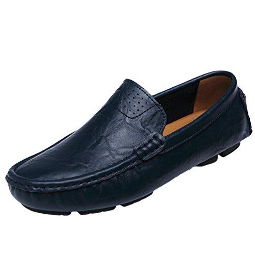 Dooxi uomo elegante durevole piatto scarpe moda casuale mocassini guida scarpe blu 39