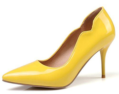 Easemax Damen Sexy High Heels Pointed Toe Low Cut Ohne Verschluss Pumps Gelb 38 EU