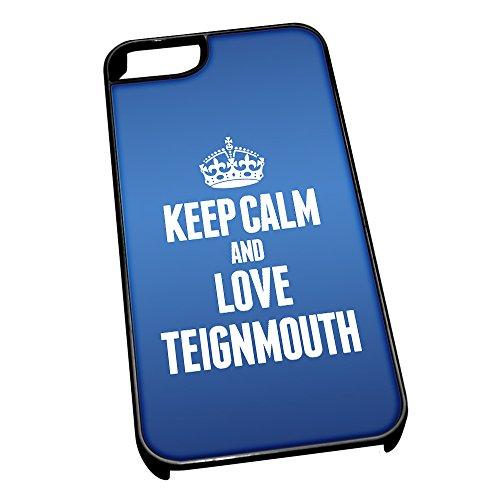 """Nero-Cover per iPhone 5/5s, blu 0638-Stivaletti alla caviglia con scritta """"Keep Calm and Love Teignmouth"""