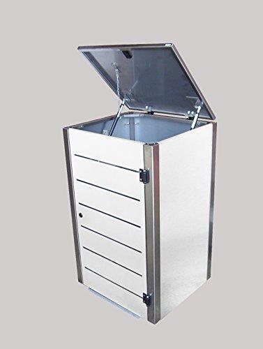 Mülltonnenbox Edelstahl, Modell Eleganza Line, 120 Liter, Zweierbox, in Weiß - 3