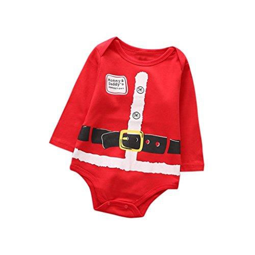 OverDose Neugeborenes Baby Mädchen Jungen Weihnachten Kleidung Druck Strampler Jumpsuit Pyjamas Christmas Outfits (Mädchen Pyjamas Neugeborenes Christmas)