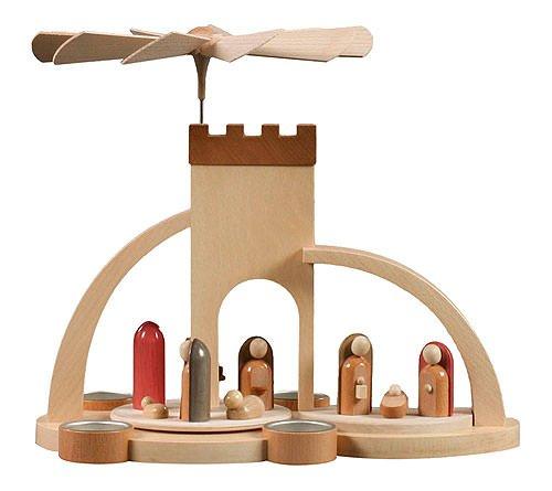 Weihnachtspyramide 1-stöckige Moderne Weihnachtspyramide Christi Geburt für Teelichter - 33cm - Original Erzgebirge - Dregeno Seiffen (Elektromotoren Jahrhundert)