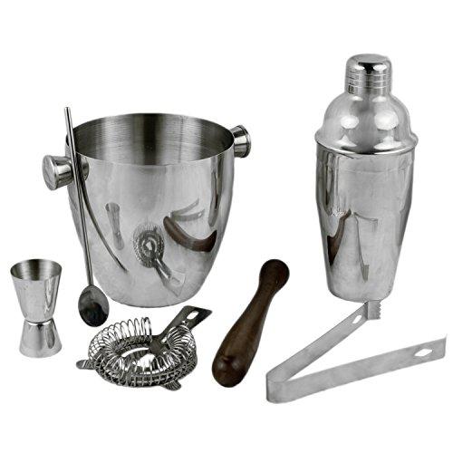 Cocktail set - 7-teilig Professionell Shaker Bar Mixer mit Cocktailshaker 500 ml, Messbecher, Cocktail-Sieb, Cocktail-Löffel, Muddler, Eis Zange und Eis Eimer von 1L