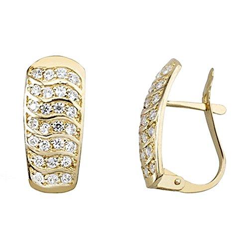 18k orecchini d'oro onde piane zirconi [AA6577]