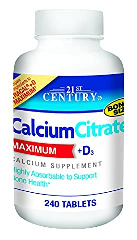 Calciumcitrat, Maximum, + D3, 240 Tablets - 21st Century Health Care