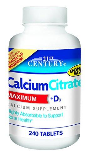 Calciumcitrat, Maximum, + D3, 240 Tablets - 21st Century Health Care -