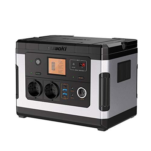 SUAOKI 500Wh 137,700mAh Générateur d'Énergie Portable Alimentation Éléctrogène Chargée de Solaire/AC/DC/Voiture avec 3 Ports USB Câble MC4 Chargeur Allume Cigare pour Alimenter des Appareils